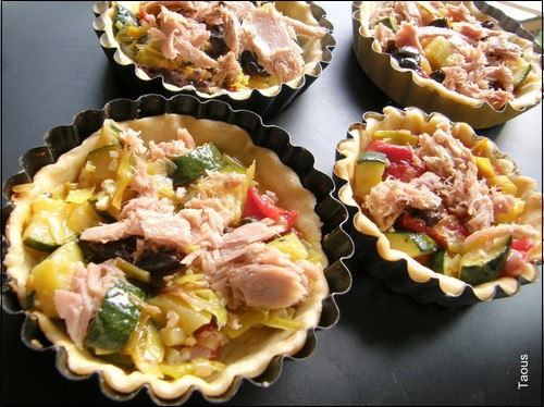 Tartelette-légumes-thon-pâte brisée-Taous